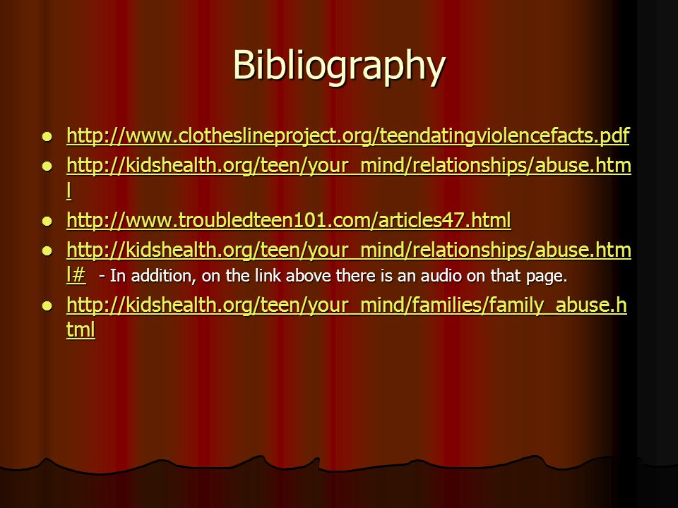 Bibliography l   l   l   l l# - In addition, on the link above there is an audio on that page.