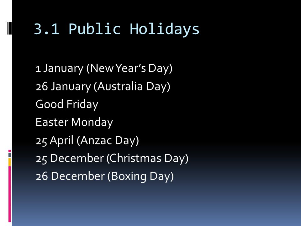 3.1 Public Holidays 1 January (New Year's Day) 26 January (Australia Day) Good Friday Easter Monday 25 April (Anzac Day) 25 December (Christmas Day) 26 December (Boxing Day)