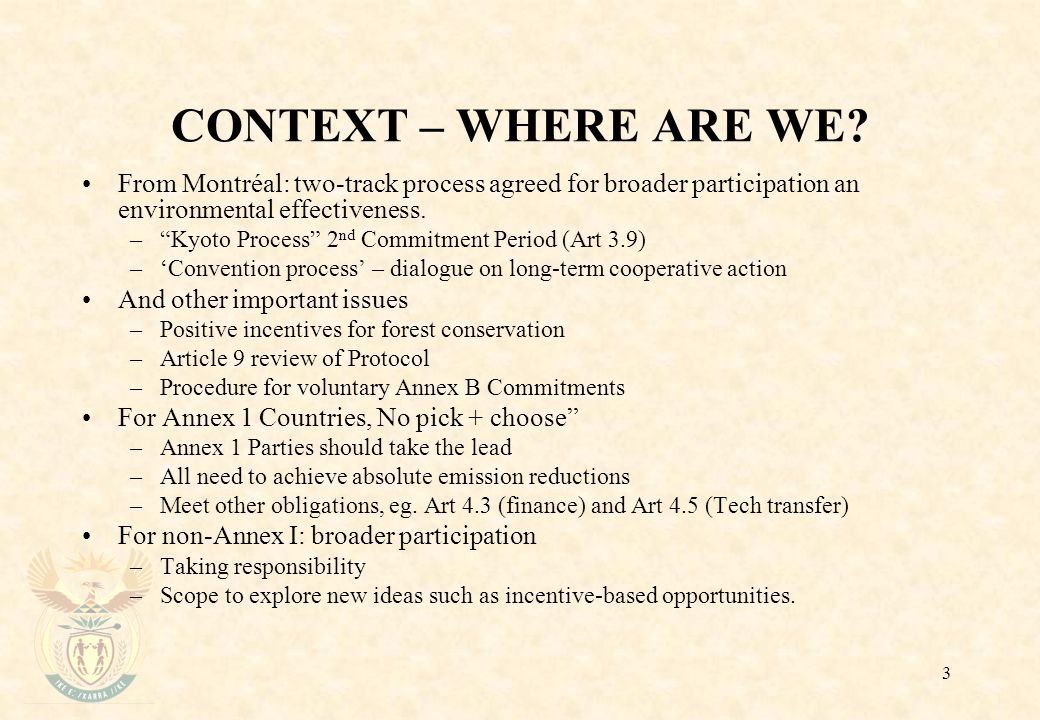 3 CONTEXT – WHERE ARE WE.