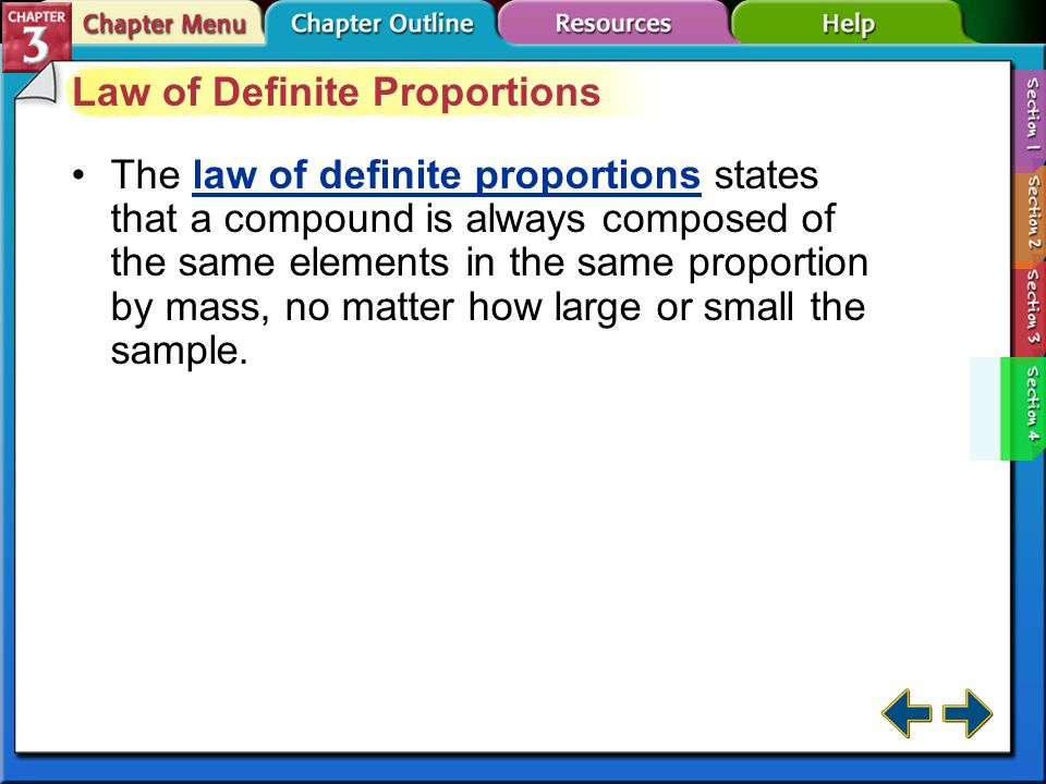 Section 3-4 Compounds (cont.) The properties of a compound are different from its component elements.