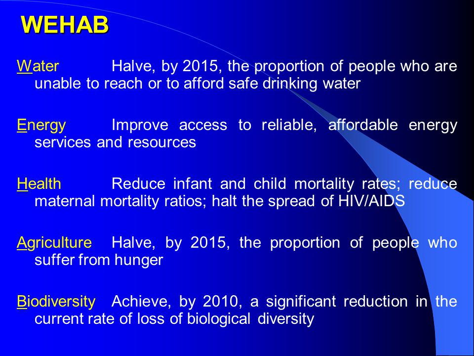 WEHAB WaterHalve, by 2015, the proportion of people who are unable to reach or to afford safe drinking water EnergyImprove access to reliable, affordable energy services and resources HealthReduce infant and child mortality rates; reduce maternal mortality ratios; halt the spread of HIV/AIDS AgricultureHalve, by 2015, the proportion of people who suffer from hunger BiodiversityAchieve, by 2010, a significant reduction in the current rate of loss of biological diversity