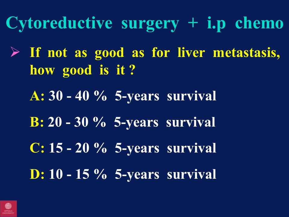 Cytoreductive surgery + i.p chemo  If not as good as for liver metastasis, how good is it .