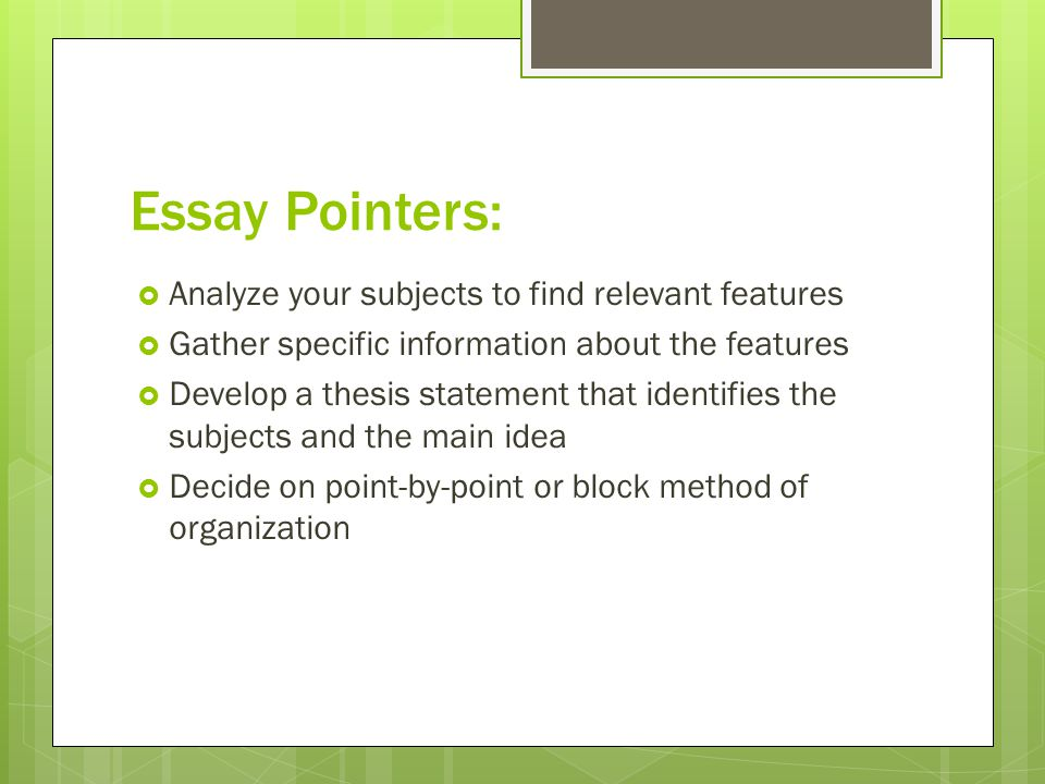 Comparison Essay, Point by Point