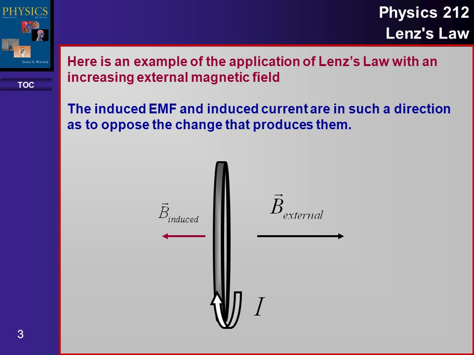 TOC 3 Physics 212 Lenz s Law Here is an example of the application of Lenz's Law with an increasing external magnetic field The induced EMF and induced current are in such a direction as to oppose the change that produces them.