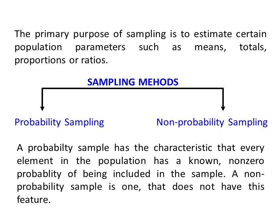 SAMPLING MEHODS The primary purpose of sampling is to estimate certain population parameters such as means, totals, proportions or ratios.