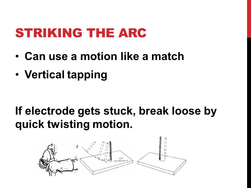 STRIKING THE ARC Can use a motion like a match Vertical tapping If electrode gets stuck, break loose by quick twisting motion.