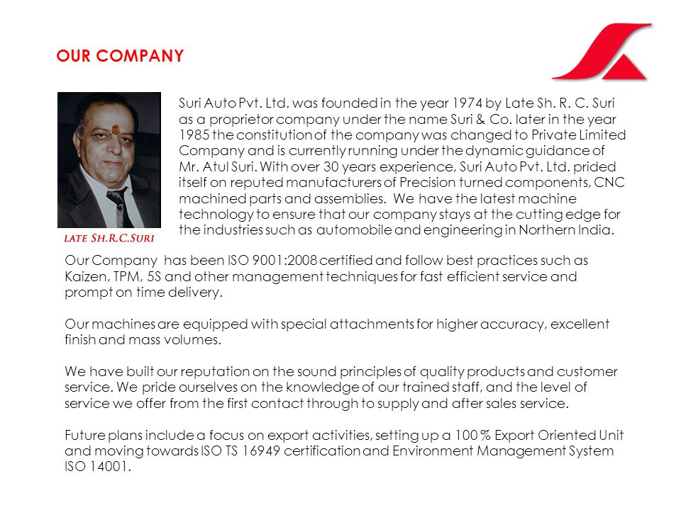 Suri Auto Pvt. Ltd. was founded in the year 1974 by Late Sh.
