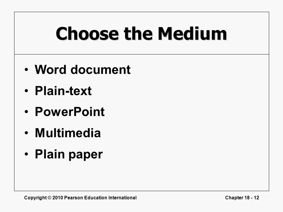 Copyright © 2010 Pearson Education InternationalChapter Choose the Medium Word document Plain-text PowerPoint Multimedia Plain paper
