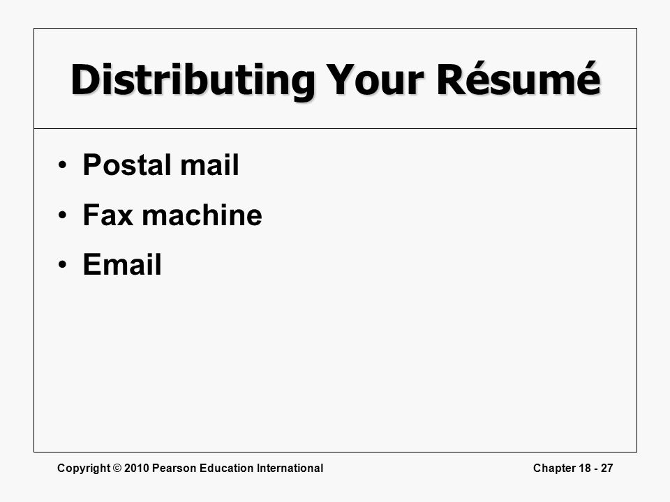Copyright © 2010 Pearson Education InternationalChapter Distributing Your Résumé Postal mail Fax machine