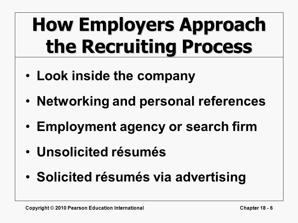 Copyright © 2010 Pearson Education InternationalChapter How Employers Approach the Recruiting Process Look inside the company Networking and personal references Employment agency or search firm Unsolicited résumés Solicited résumés via advertising