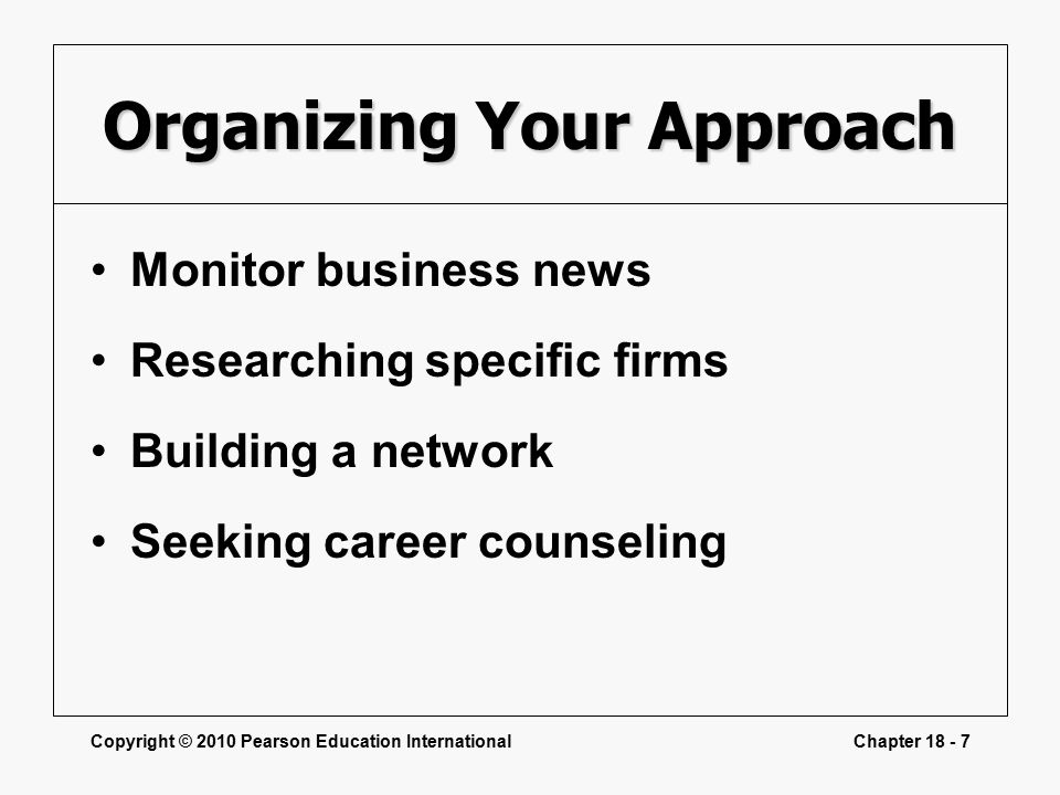 Copyright © 2010 Pearson Education InternationalChapter Organizing Your Approach Monitor business news Researching specific firms Building a network Seeking career counseling