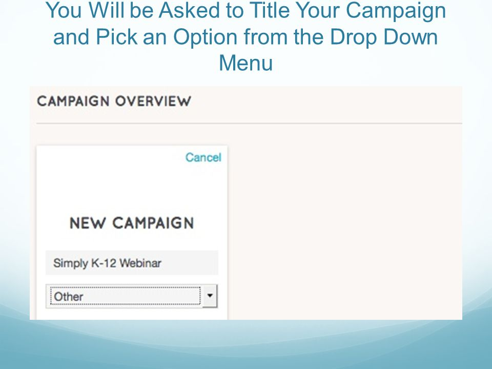 You Will be Asked to Title Your Campaign and Pick an Option from the Drop Down Menu