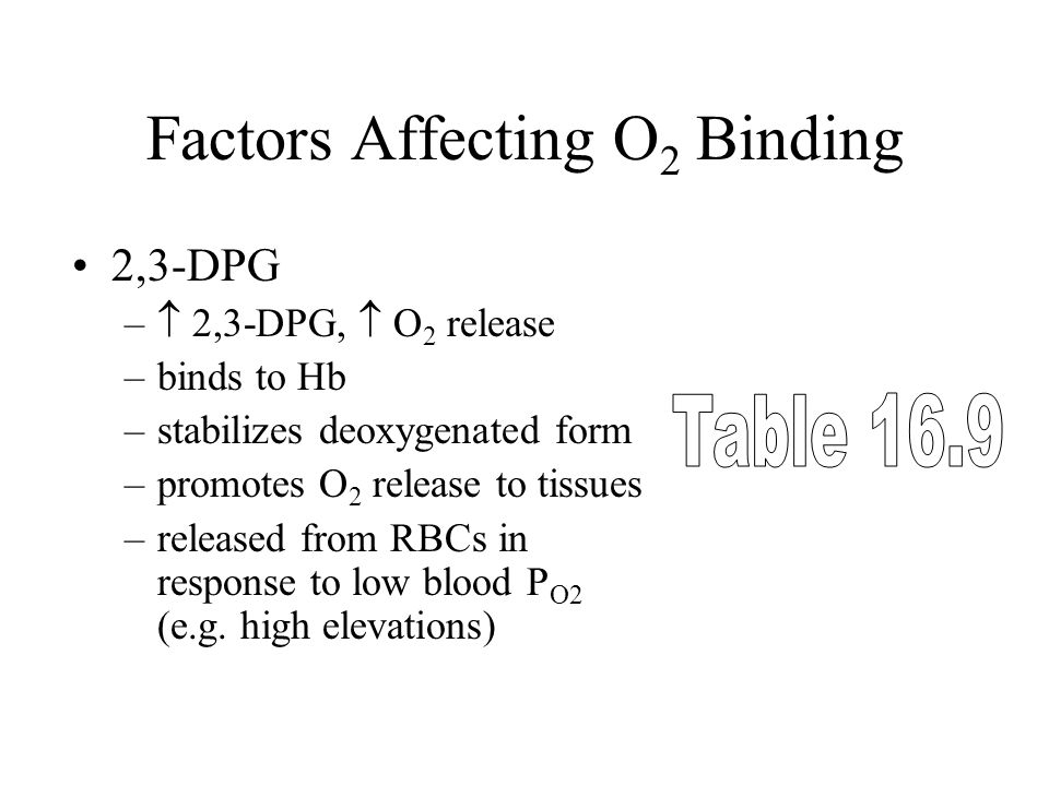 Factors Affecting O 2 Binding 2,3-DPG –  2,3-DPG,  O 2 release –binds to Hb –stabilizes deoxygenated form –promotes O 2 release to tissues –released from RBCs in response to low blood P O2 (e.g.