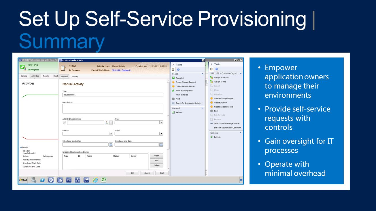 Empower application owners to manage their environments Provide self-service requests with controls Gain oversight for IT processes Operate with minimal overhead