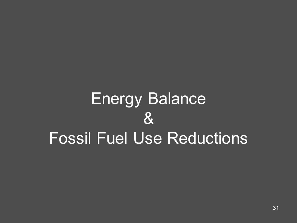 31 Energy Balance & Fossil Fuel Use Reductions
