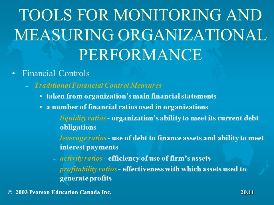TOOLS FOR MONITORING AND MEASURING ORGANIZATIONAL PERFORMANCE Financial Controls – Traditional Financial Control Measures taken from organization's main financial statements a number of financial ratios used in organizations – liquidity ratios - organization's ability to meet its current debt obligations – leverage ratios - use of debt to finance assets and ability to meet interest payments – activity ratios - efficiency of use of firm's assets – profitability ratios - effectiveness with which assets used to generate profits 20.11