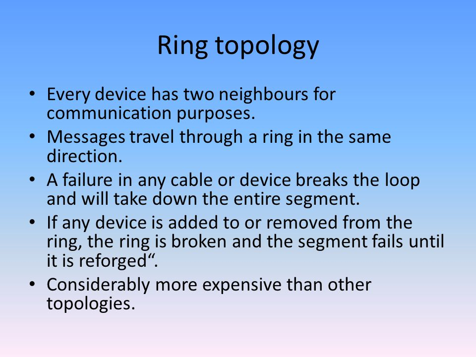 Ring topology Every device has two neighbours for communication purposes.