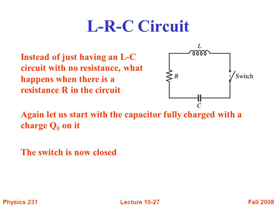 Fall 2008Physics 231Lecture Instead of just having an L-C circuit with no resistance, what happens when there is a resistance R in the circuit Again let us start with the capacitor fully charged with a charge Q 0 on it The switch is now closed L-R-C Circuit