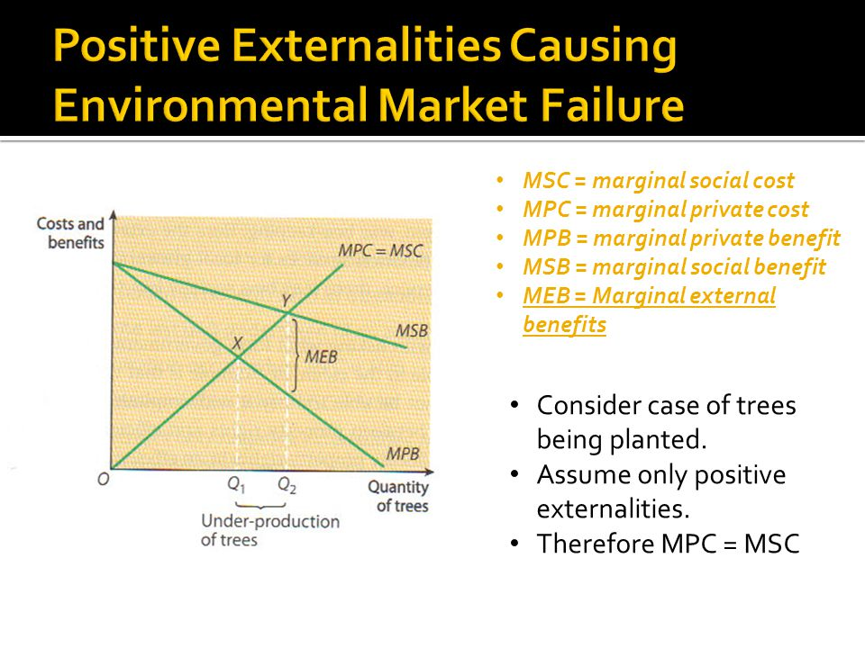 Consider case of trees being planted.Assume only positive externalities.