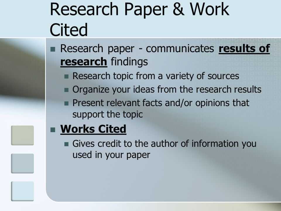research paper works cited page Formatting the works cited page in mla style including both in-text citations and a works cited page in a research paper provides the writer with ethos.