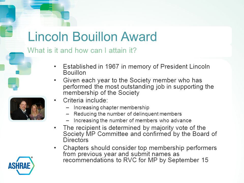 Established in 1967 in memory of President Lincoln Bouillon Given each year to the Society member who has performed the most outstanding job in supporting the membership of the Society Criteria include: –Increasing chapter membership –Reducing the number of delinquent members –Increasing the number of members who advance The recipient is determined by majority vote of the Society MP Committee and confirmed by the Board of Directors Chapters should consider top membership performers from previous year and submit names as recommendations to RVC for MP by September 15 Lincoln Bouillon Award What is it and how can I attain it
