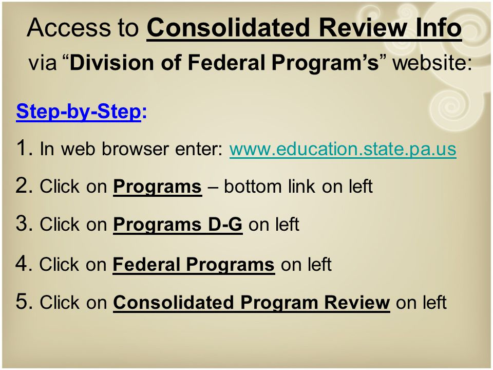 Access to Consolidated Review Info Step-by-Step: 1.