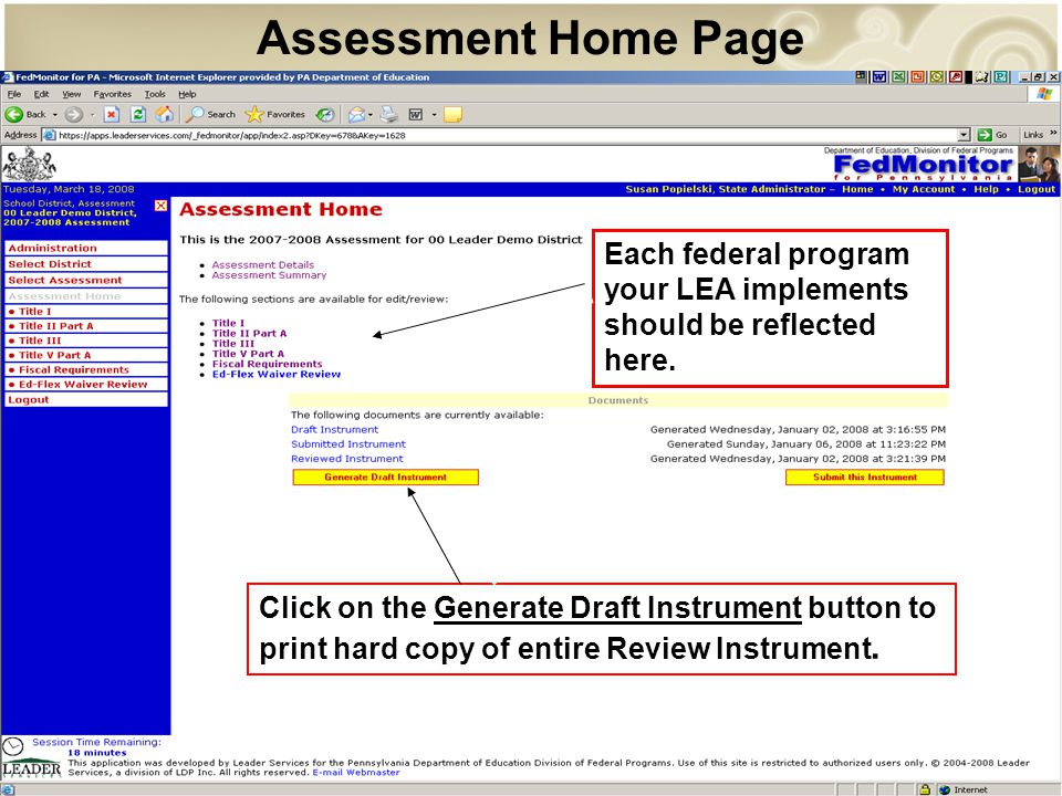 Assessment Home Page Click on the Generate Draft Instrument button to print hard copy of entire Review Instrument.
