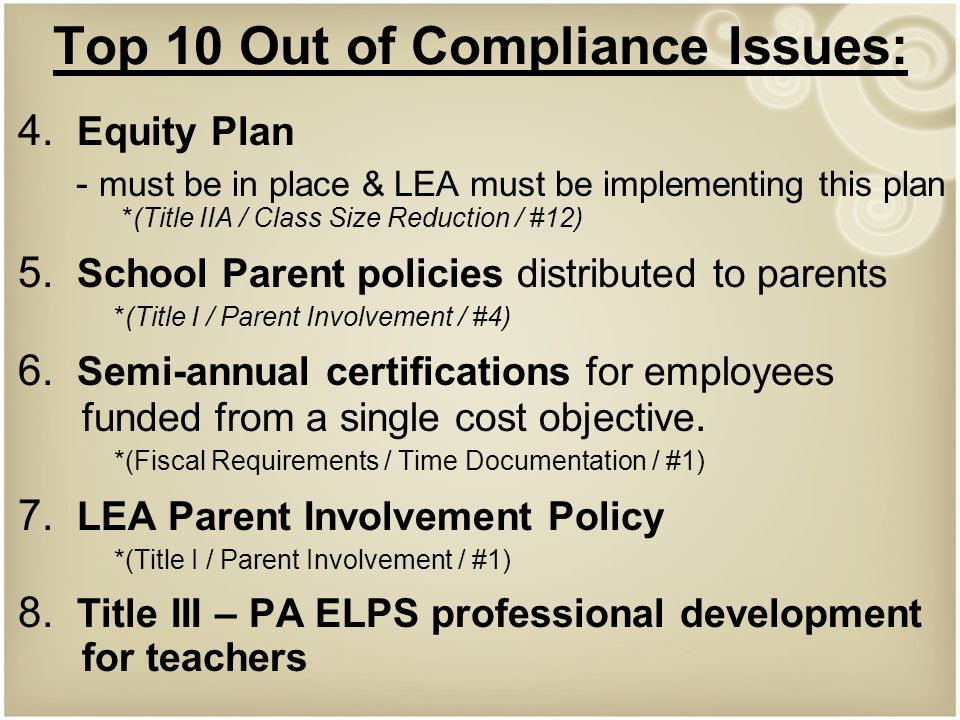 Top 10 Out of Compliance Issues: 4.