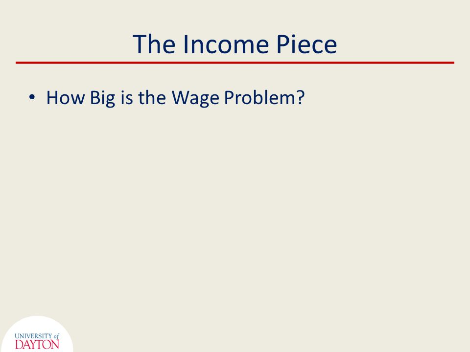 The Income Piece How Big is the Wage Problem