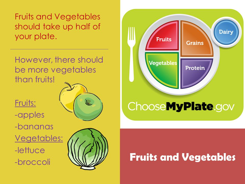 Fruits and Vegetables should take up half of your plate.