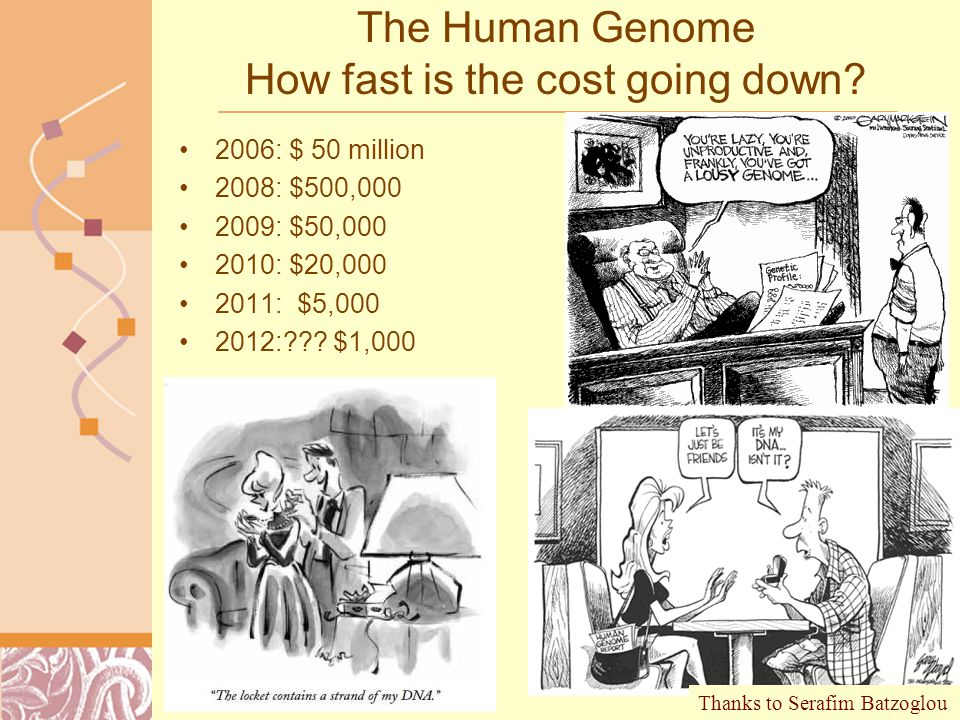 Doug Brutlag 2011 The Human Genome How fast is the cost going down.
