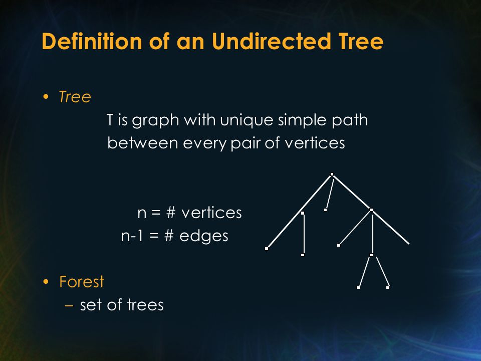 Definition of an Undirected Tree Tree T is graph with unique simple path between every pair of vertices n = # vertices n-1 = # edges Forest –set of trees