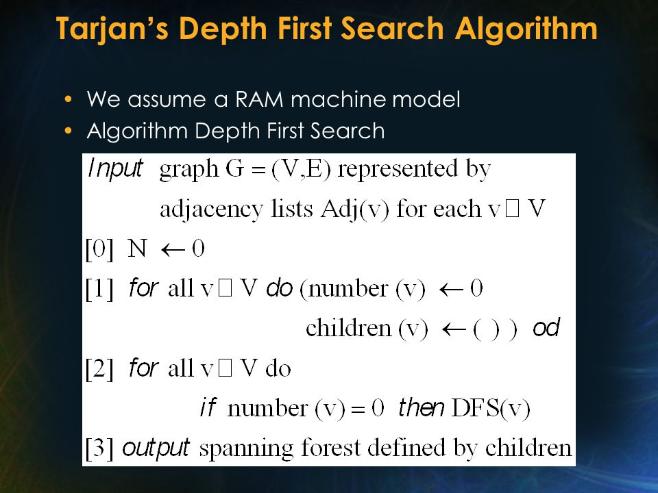 Tarjan ' s Depth First Search Algorithm We assume a RAM machine model Algorithm Depth First Search