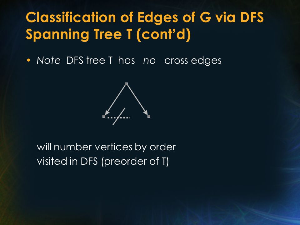 Classification of Edges of G via DFS Spanning Tree T (cont ' d) Note DFS tree T has no cross edges will number vertices by order visited in DFS (preorder of T)