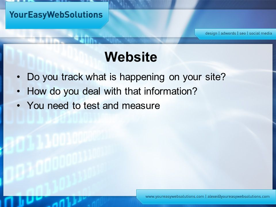 Website Do you track what is happening on your site.