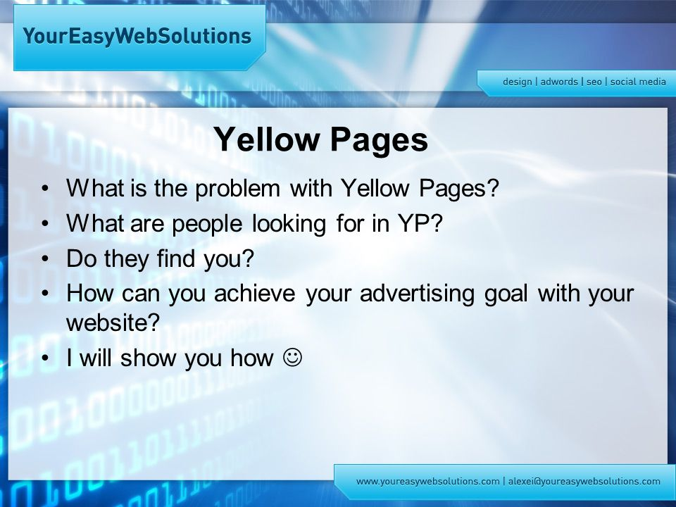 Yellow Pages What is the problem with Yellow Pages.