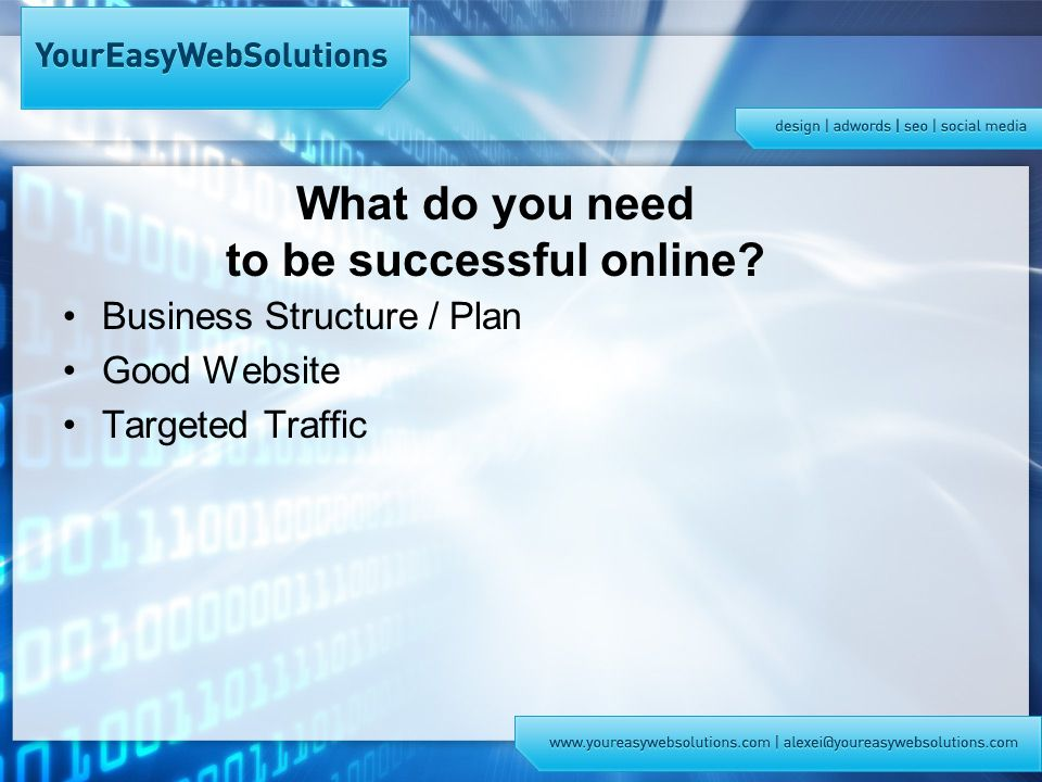 What do you need to be successful online Business Structure / Plan Good Website Targeted Traffic