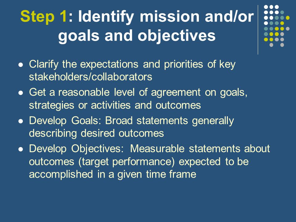 Initial Steps in Developing the Outcome Evaluation Plan Identify the program or project's mission and/or goals and objectives Identify all relevant and important outcomes that should be evaluated Select outcome indicators Identify data sources and data collection procedures