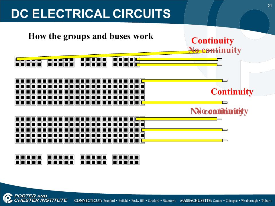 21 Continuity No continuity Continuity No continuity How the groups and buses work DC ELECTRICAL CIRCUITS