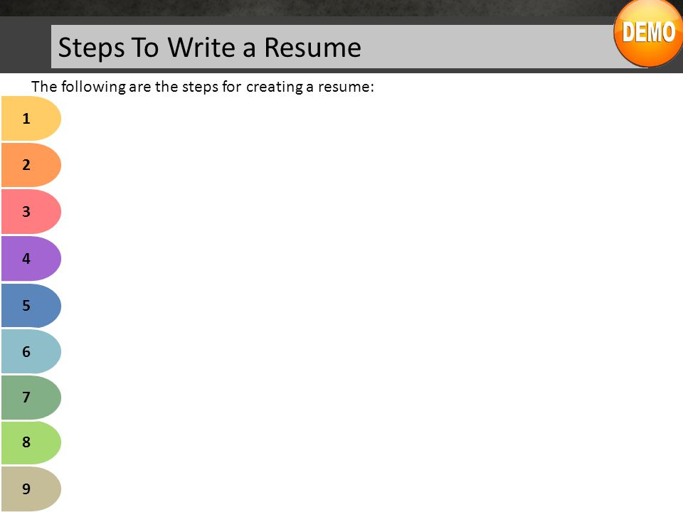 Steps To Write a Resume The following are the steps for creating a resume: Research about the Target Company/Organization: Decide for whom you are writing the resume.