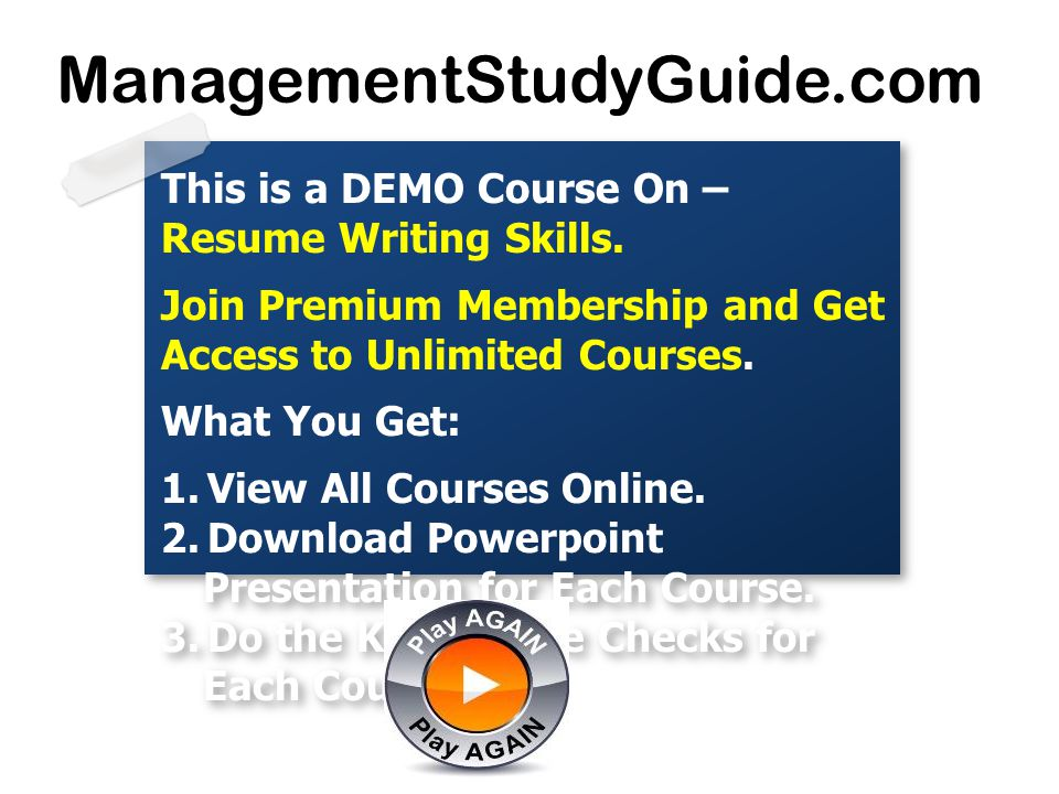 This Is A DEMO Course On U2013 Resume Writing Skills.