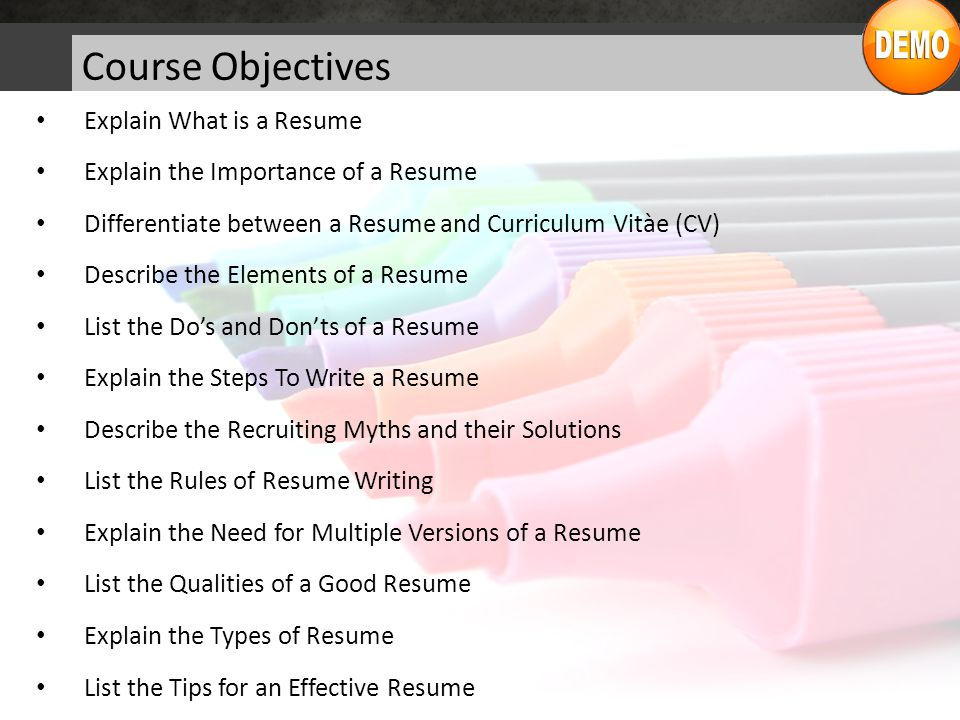 2 course objectives - Elements Of A Resume