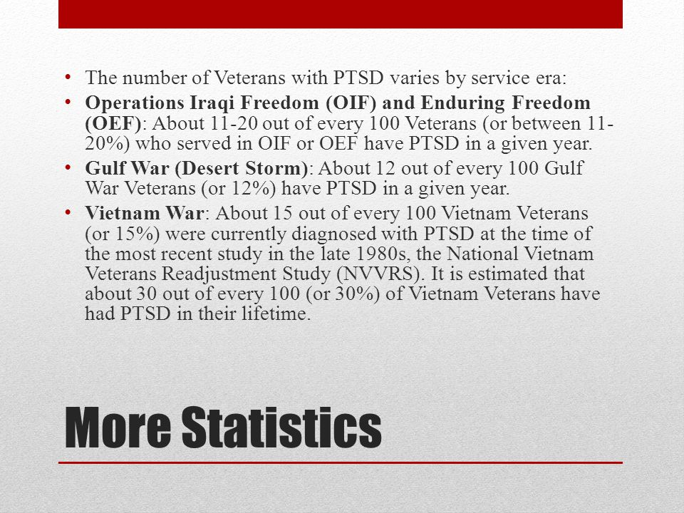 More Statistics The number of Veterans with PTSD varies by service era: Operations Iraqi Freedom (OIF) and Enduring Freedom (OEF): About out of every 100 Veterans (or between %) who served in OIF or OEF have PTSD in a given year.