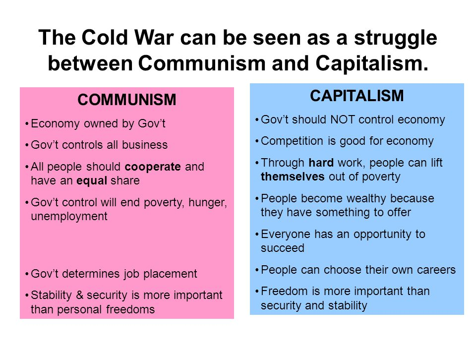 The Cold War can be seen as a struggle between Communism and Capitalism.