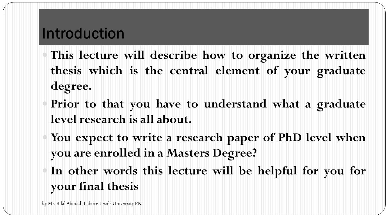 how to organize your thesis structure of a research paper structure of a research paper advanced research methodology by 2 introduction