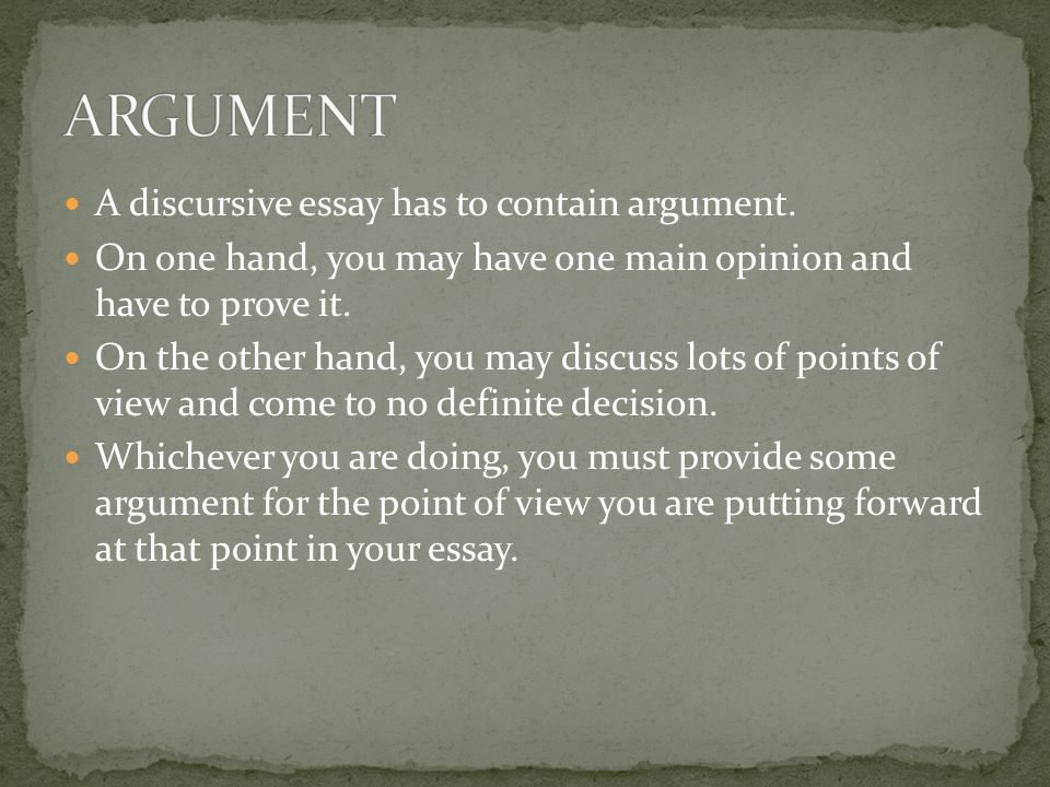 discursive essay 1 a balanced argument essay What is a discursive essay you can acknowledge the opposite side of the argument starting a sentence with if you want to sound careful and balanced.