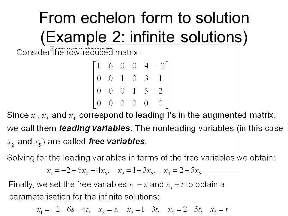 From echelon form to solution (Example 2: infinite solutions)
