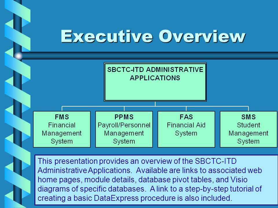Executive Overview This presentation provides an overview of the SBCTC-ITD Administrative Applications.