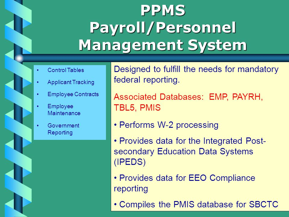 Control Tables Applicant Tracking Employee Contracts Employee Maintenance Government Reporting PPMSPayroll/Personnel Management System Designed to fulfill the needs for mandatory federal reporting.