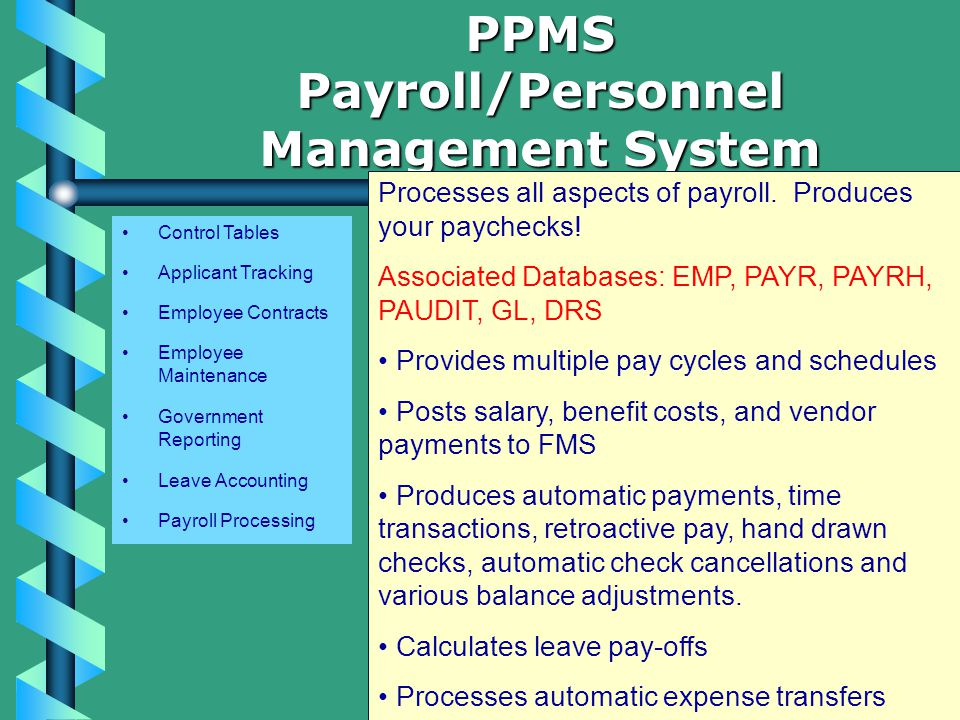 Control Tables Applicant Tracking Employee Contracts Employee Maintenance Government Reporting Leave Accounting Payroll Processing PPMSPayroll/Personnel Management System Processes all aspects of payroll.